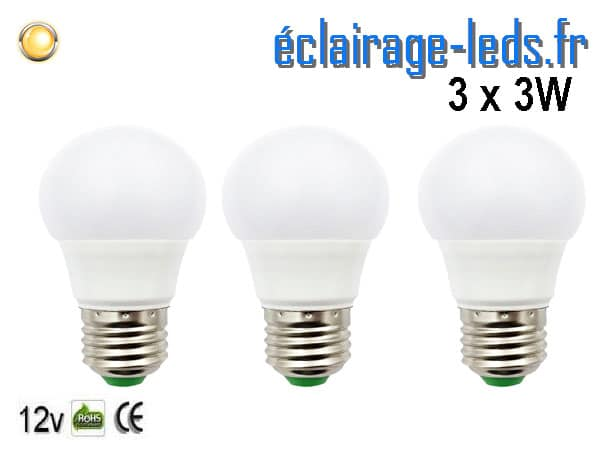 3 ampoules LED E27 3W Blanc chaud 12v DC