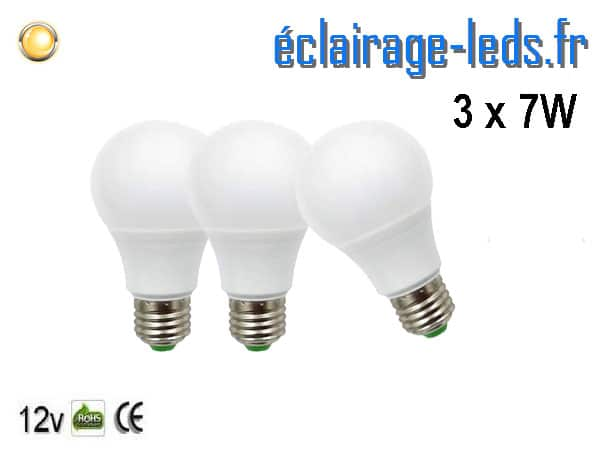 3 ampoules LED E27 7W Blanc chaud 12v DC