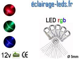 Lot de 5 LEDs RGB 4 broches 5mm 9400 mcd 30°