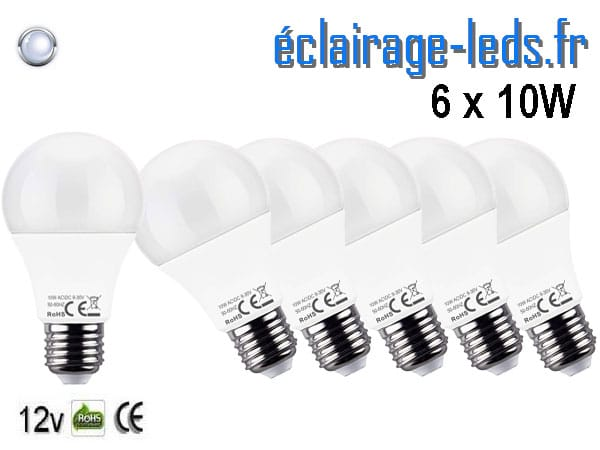 6 ampoules LED E27 10W Blanc froid 12v DC