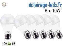 6 ampoules LED E27 10W Blanc naturel 12v DC