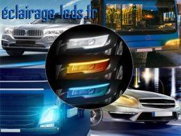 2 bandes LED 60cm feu diurne blanc froid + bleu + clignotant 12v