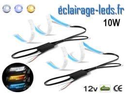 bandes LED 60cm feu diurne blanc froid + bleu + clignotant 12v