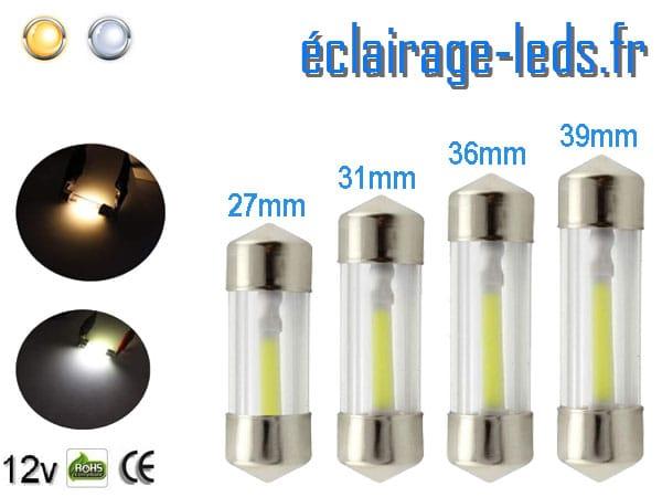 Ampoules LED COB automobile intérieur de 27mm à 39mm 12v