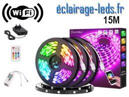 Bandeau LED RGB 15m Wifi connecté Alexa + Google home