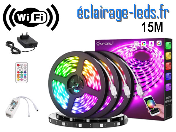 Bandeau LED RGB 15m Wifi connecté Alexa + Google home