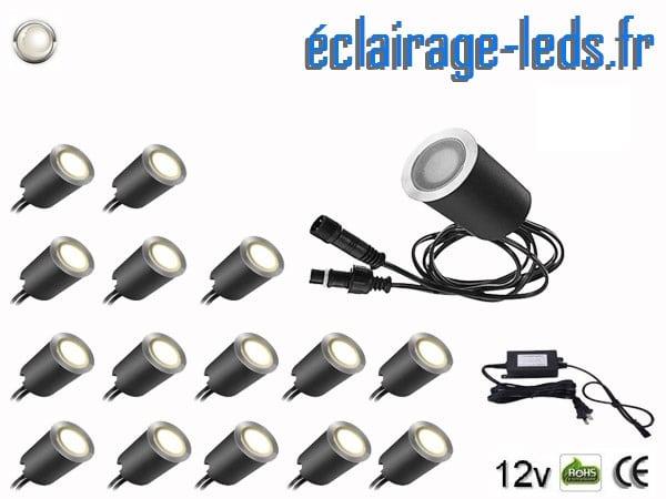 Kit 16 spots LED encastrables Mur et Sol 10w blanc 12v