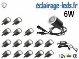 Kit 16 spots LED encastrables Mur et Sol 6w blanc 12v