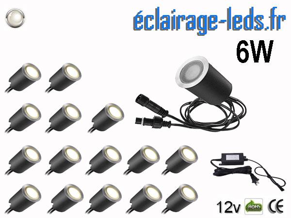 Kit 16 spots LED encastrables Mur et Sol 6w blanc 12v