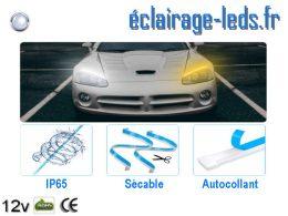 Bandes LED 60cm automobile feu diurne 6000K + clignotant 300 LED 12v