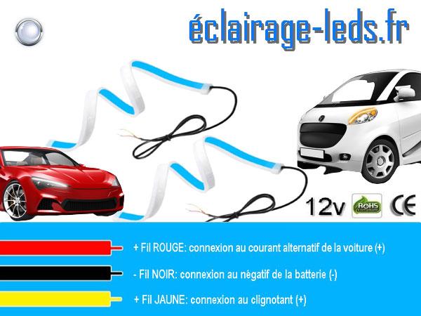 Bandes LED 60cm automobile feu diurne 6000K + clignotant 12v