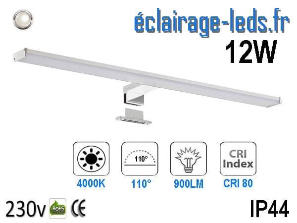 Lampe LED miroir Salle de bain 12W blanc naturel 60cm