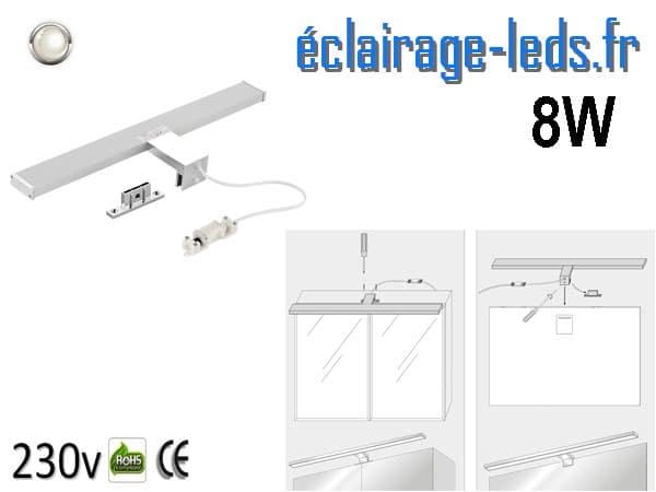 Lampe LED miroir Salle de bain 8W blanc naturel 40cm 230v