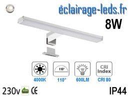 Lampe LED miroir Salle de bain 8W blanc naturel 40cm
