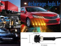 LED 18mm câblées 9w Diurne blanc chaud pour Automobile + Moto 12v