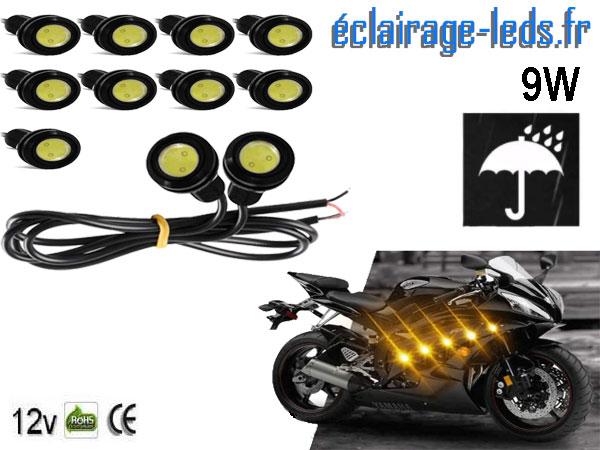 10 LED 18mm câblées 9w Diurne blanc chaud pour Automobile + Moto 12v