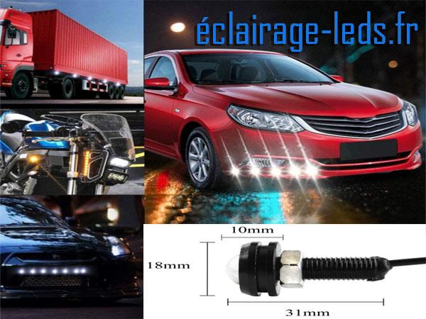 10 LED 18mm câblées 9w Diurne blanc pour Automobile + Moto 12v