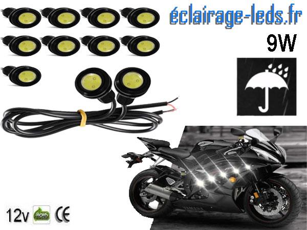 LED 18mm câblées 9w Diurne blanc pour Automobile + Moto 12v