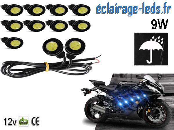 10 LED 18mm câblées 9w Diurne bleu pour Automobile + Moto 12v