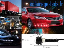 LED 18mm câblées 9w Diurne bleu pour Automobile + Moto 12v