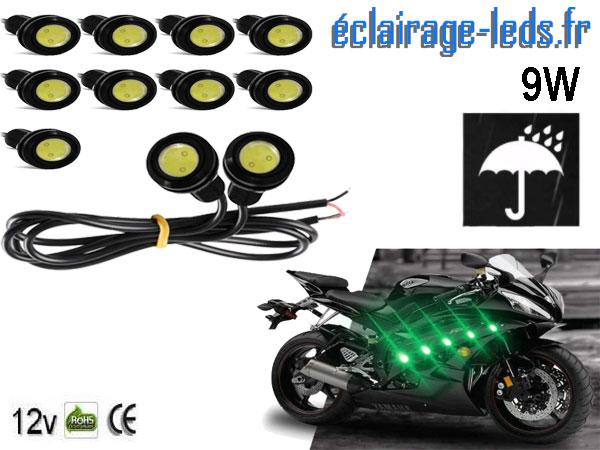 10 LED 18mm câblées 9w Diurne vert pour Automobile + Moto 12v