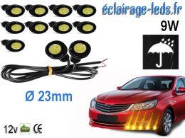 10 LED 23mm câblées 9w Diurne blanc chaud pour Automobile + Moto 12v