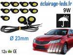 10 LED 23mm câblées 9w Diurne blanc pour Automobile + Moto 12v