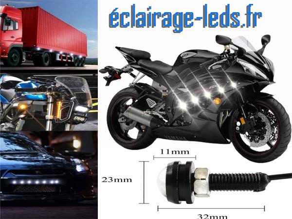 LED 23mm câblées 9w Diurne blanc pour Automobile + Moto 12v