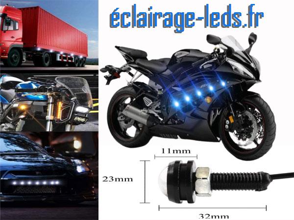 LED 23mm câblées 9w Diurne bleu pour Automobile + Moto 12v