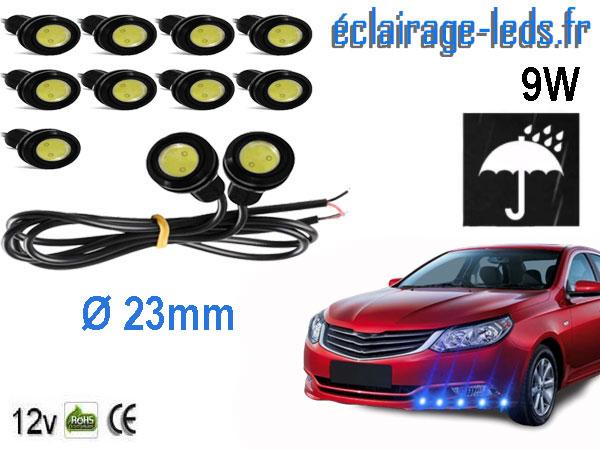 10 LED 23mm câblées 9w Diurne bleu pour Automobile + Moto 12v