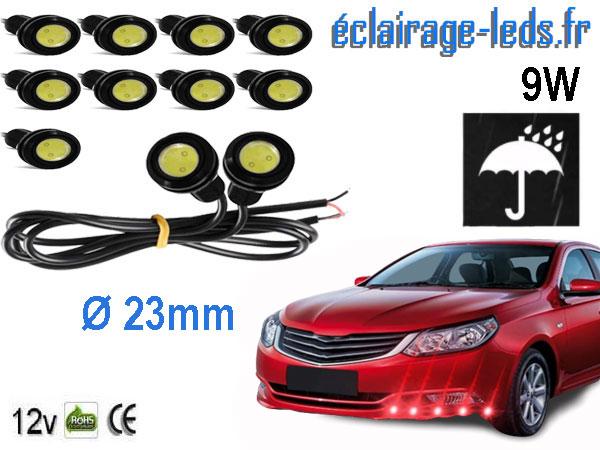 10 LED 23mm câblées 9w Diurne rouge pour Automobile + Moto 12v