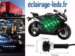LED 23mm câblées 9w Diurne vert pour Automobile + Moto 12v