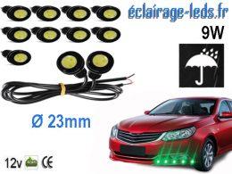 10 LED 23mm câblées 9w Diurne vert pour Automobile + Moto 12v