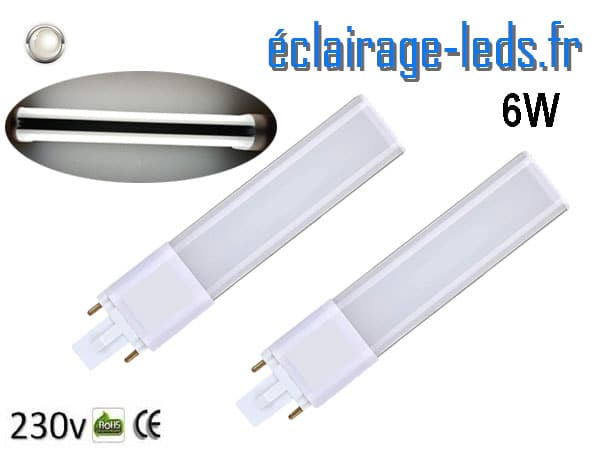 2 ampoules LED G23 6W blanc froid IP20 230v