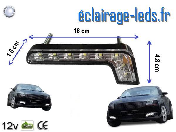 Lot de 2 feux LED en angle pour automobile 8w blanc froid 12v