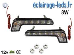 2 feux LED en angle pour automobile 8w blanc froid 12v