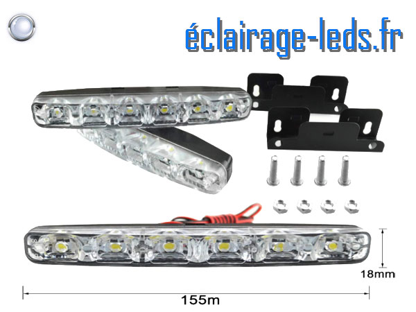 2 feux LED slim de jour pour automobile 6w blanc froid 12v