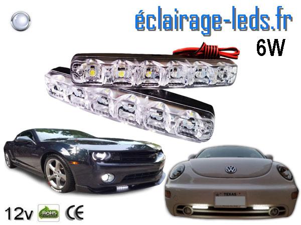feux LED slim de jour pour automobile 6w blanc froid 12v