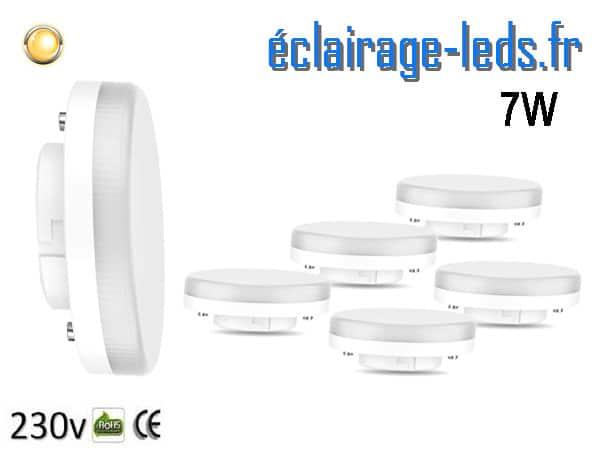 Lot de 6 ampoules LED GX53 7W blanc chaud