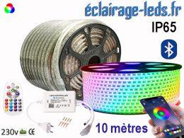 Ruban LED 10m RGB smd5050 télécommandé IP65 bluetooth 230v