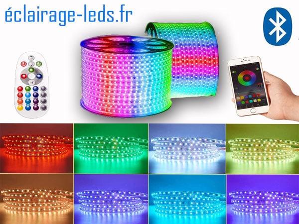 Ruban LED 20m RGB smd5050 télécommandé IP65 230v