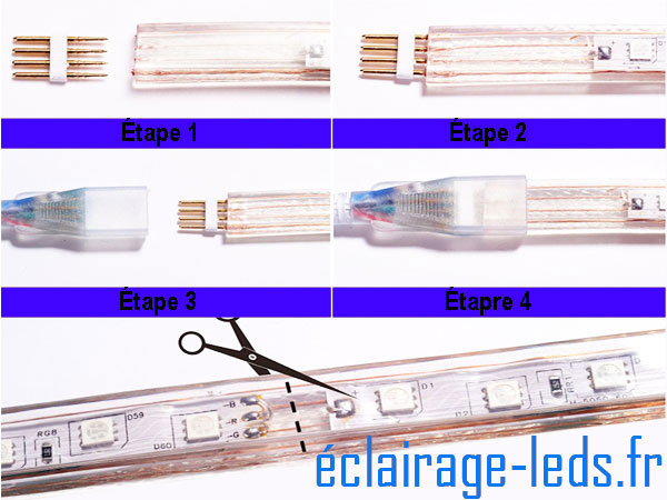 Ruban LED 30m RGB smd5050 télécommandé IP65 sécable 230v
