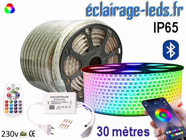 Ruban LED 30m RGB smd5050 télécommandé IP65 bluetooth 230v
