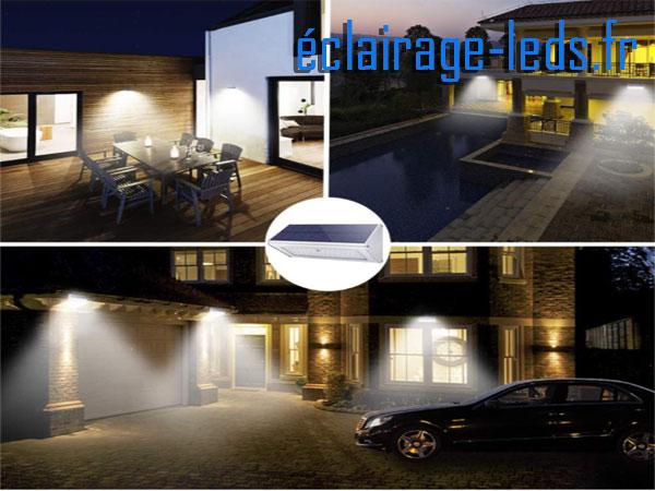 Applique LEDS solaire 48 leds blanc chaud