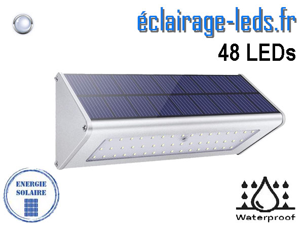 Applique LEDS solaire 48 leds blanc froid détecteur de présence