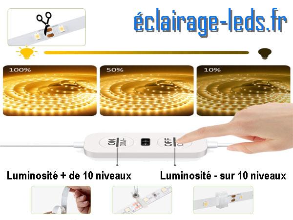 Kit bandeau LED 12M dimmable blanc chaud interrupteur sans contact 24v