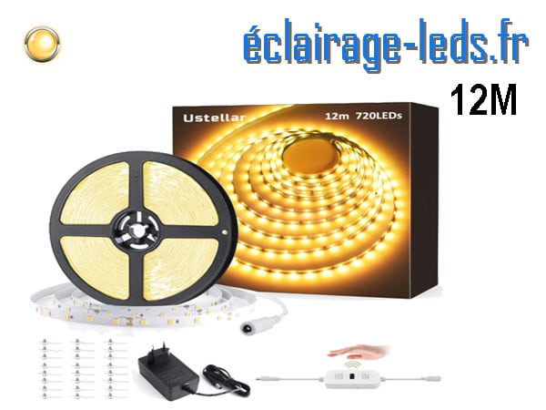 Bandeau LED 12M dimmable blanc chaud interrupteur sans contact 12v