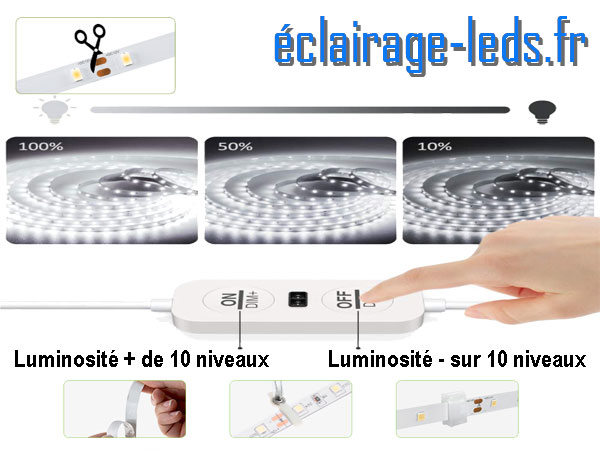 Kit bandeau LED 12M dimmable blanc froid interrupteur sans contact 24v