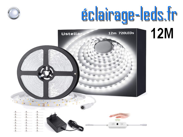 Bandeau LED 12M dimmable blanc froid interrupteur sans contact 24v