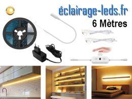 Bandeau LED 6M dimmable blanc chaud interrupteur sans contact 12v